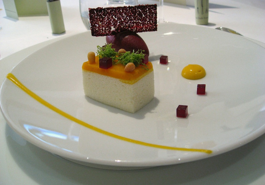 Dessert at The Fat Duck: Mango and Douglas Fir puree, Bavarois of lychee and mango, blackcurrant sorbet, blackcurrant and green peppercorn jelly. Photography: Renée Suen