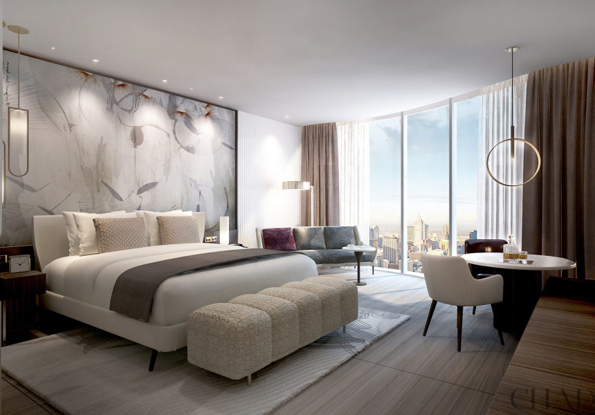 Render of guest room at St. Regis Melbourne
