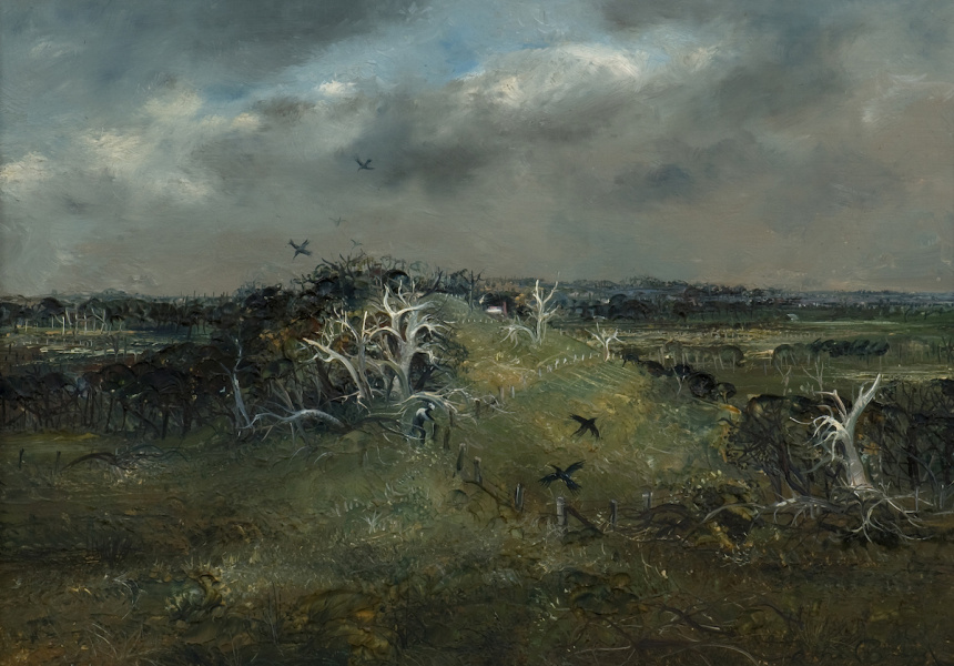 Arthur Boyd, Australia Spring landscape 1959. Oil on board, 25.3 x 35.4 cm.  The University of Melbourne Art Collection. Gift of the Russell and Mab Grimwade Bequest 1973. © Image reproduction courtesy Bundanon Trust