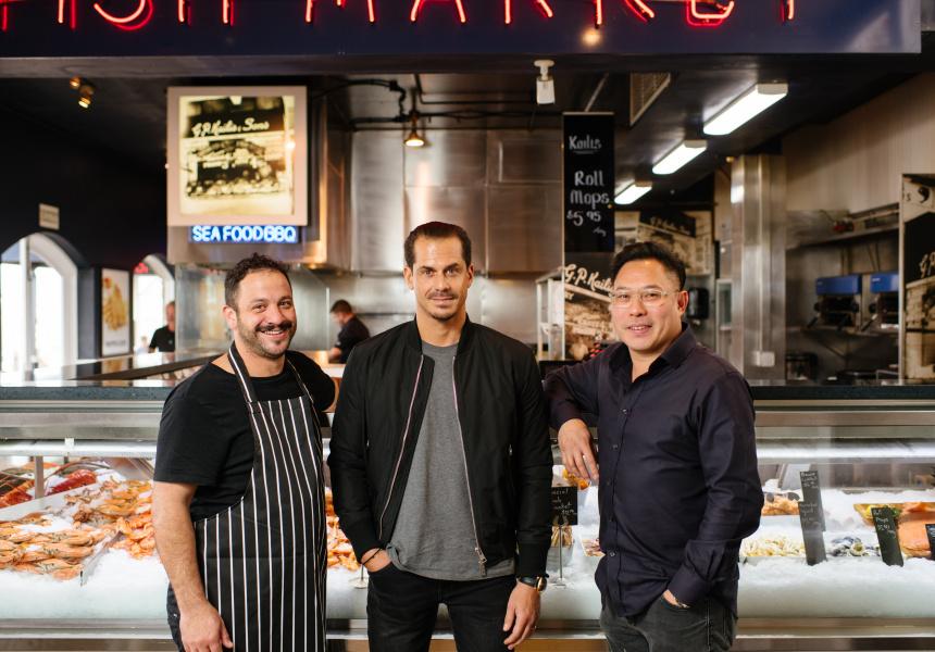Peter Manifis and George Kailis of Kailis Fish Market Cafe and Paul Lim of Mata Design.