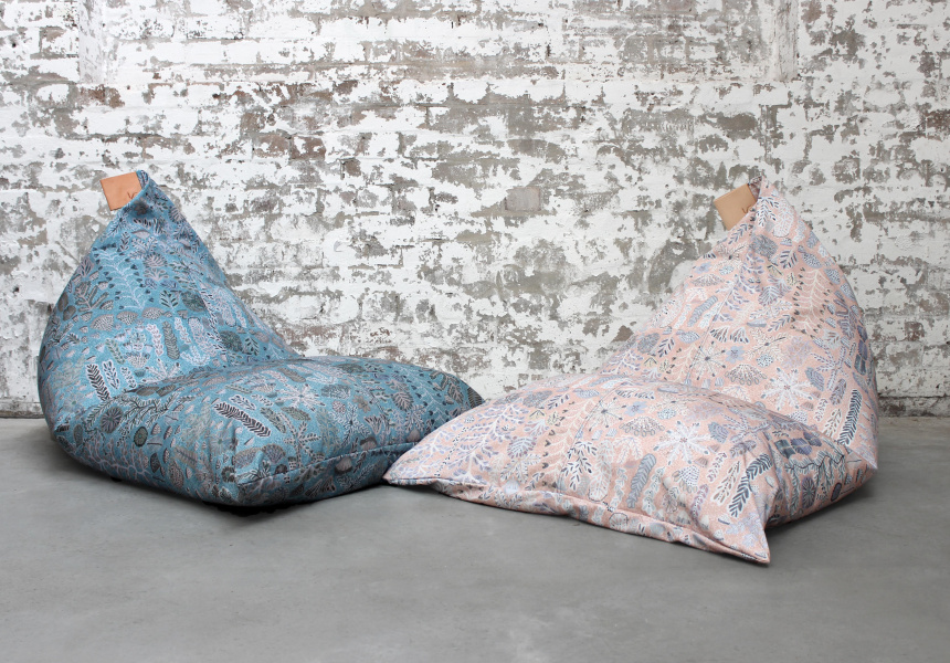 Willie Weston x Koskela Indoor / Outdoor Beanbags, featuring Rosie Ngwarraye Ross' Sugarbag Dreaming in 'Saltbush'[left] and 'Desert Rose'[right].
