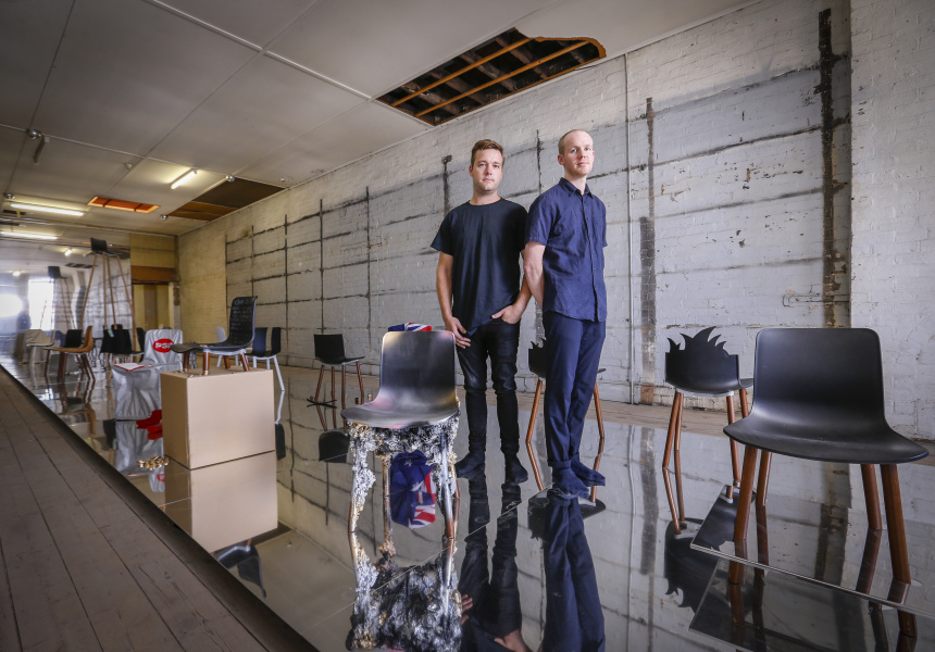 Dale Hardiman and Tom Skeehan of Friends and Associates inside 26 Original Fakes for the National Gallery of Victoria's Melbourne Design Week 2017 at Watchmaker, Collingwood.