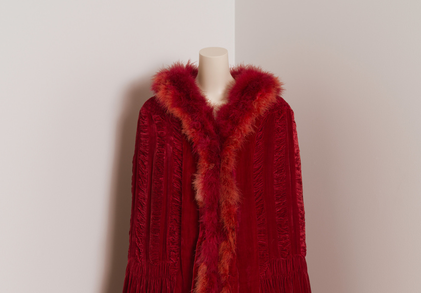 Chanel (couture house) Gabrielle Chanel (designer) Evening cape c. 1924–26 silk (velvet, crêpe georgette), marabou (feathers) National Gallery of Victoria, Melbourne Promised gift of Krystyna Campbell-Pretty  AM and Family in memory of Delphine  Lévy