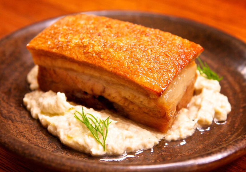 Pork belly with eggplant puree.