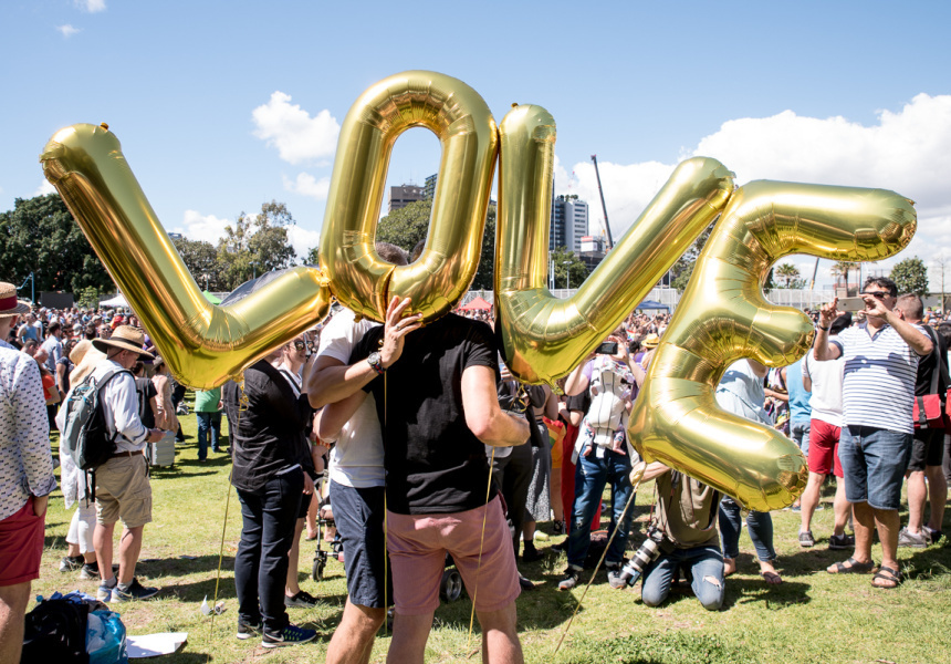 The announcement of the same-sex marriage postal survey at Prince Alfred Park, Nov 15, 2017.