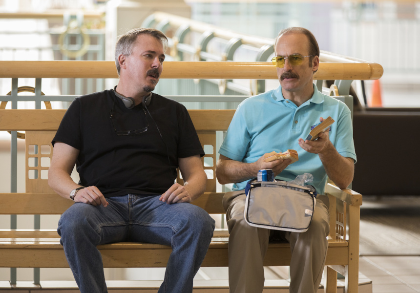 Vince Gilligan and Bob Odenkirk on the set of Better Call Saul