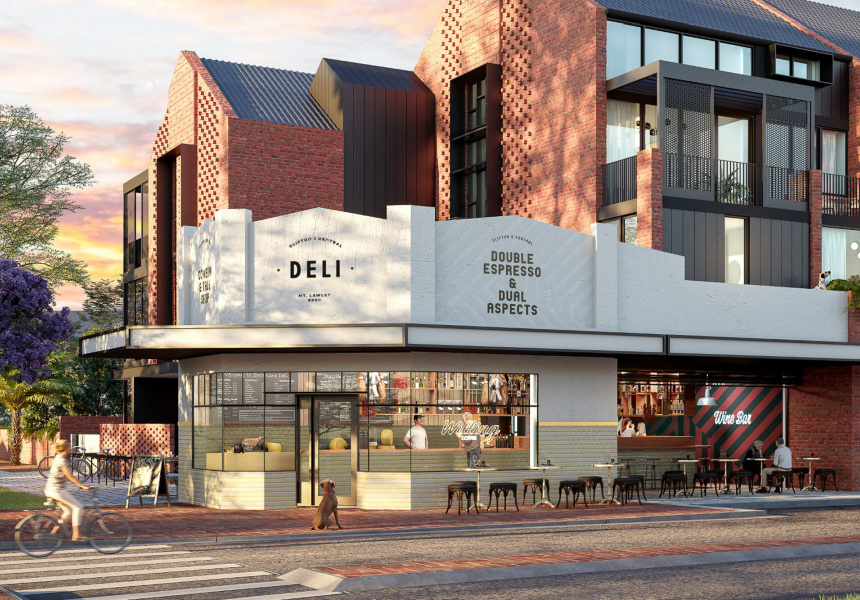 rendered image of The Deli when complete