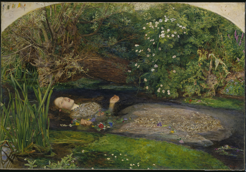 John Everett Millais Ophelia 1851-52, oil on canvas, 76.2 x 111.8 cm, Presented by Sir Henry Tate 1894, Tate, © Tate, London 2018