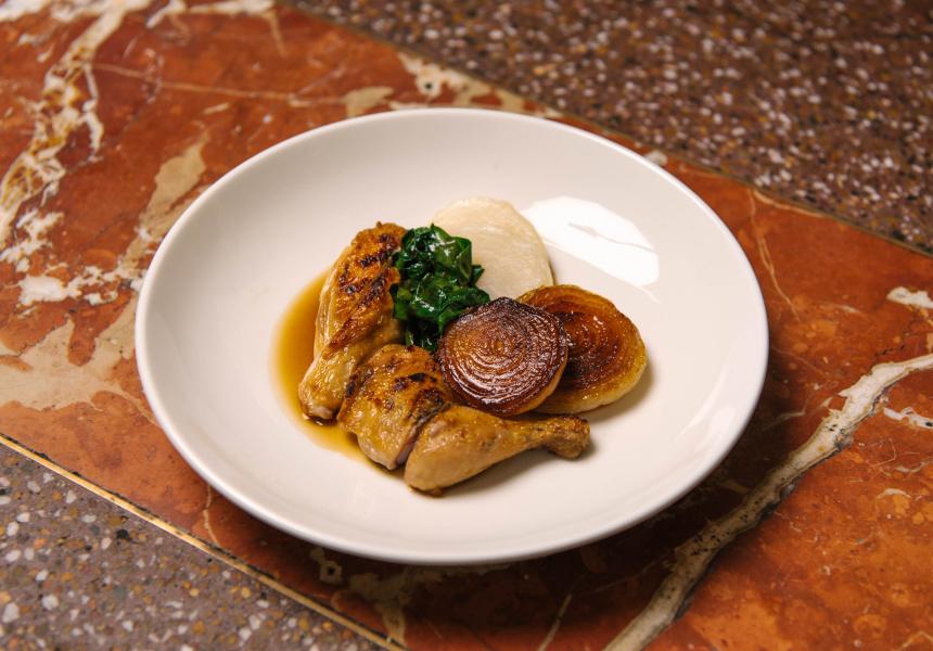 Spatchcock, cipollini onion, cavolo nero, turnip