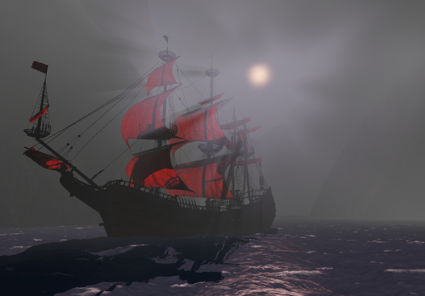 A 3D render of the ghost ship by Deakin Motion.Lab