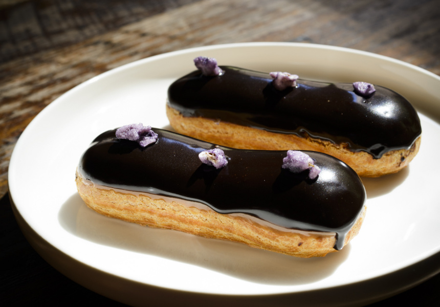 Chocolate and violet éclair