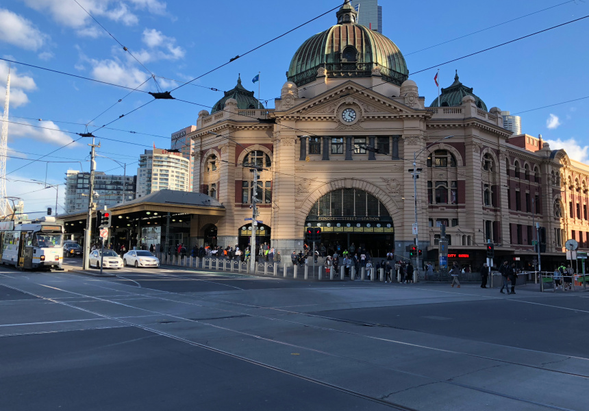 An artist's impression of Flinders Street Station after the bollards have been installed.