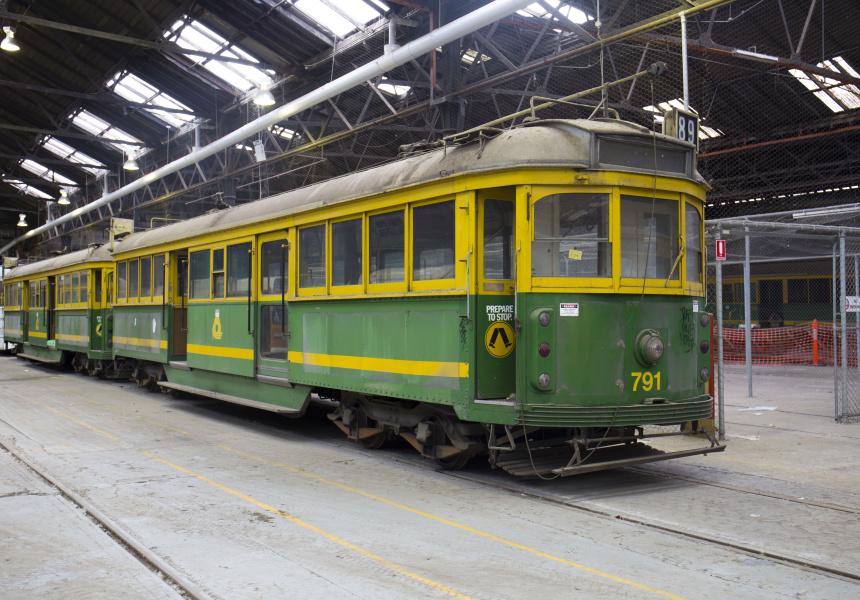 A tram in the Newport Depot