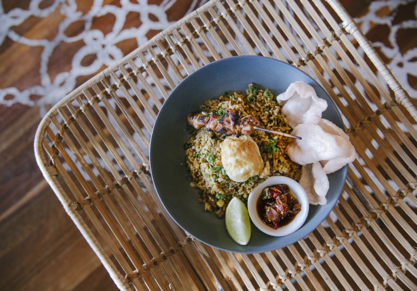 Balinese fried rice, chicken sate