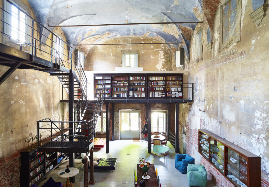 Interior of photographer Massimo Vitali's home - a converted 14th century church located in Lucca, Italy for Mr Porter.