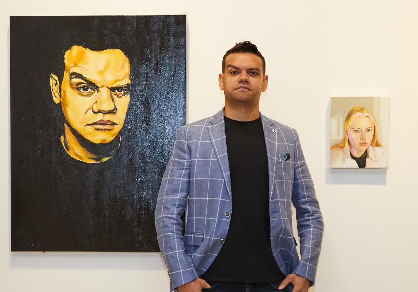 Packing Room Prize winner Meyne Wyatt with his self-portrait Meyne