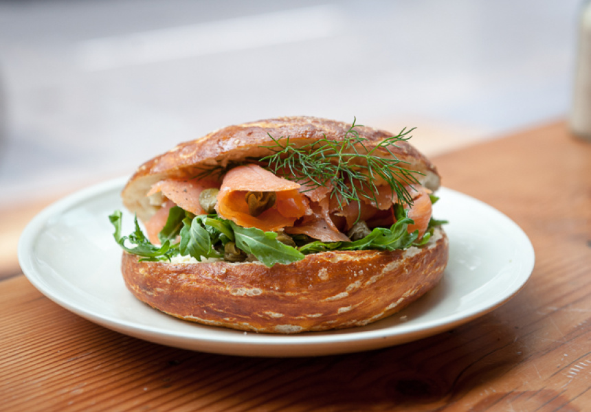 Smoked Salmon Pretzel at Palomino Espresso – $8
