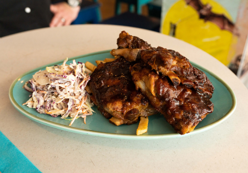 The Pier Bar's award-winning whiskey smoked BBQ ribs