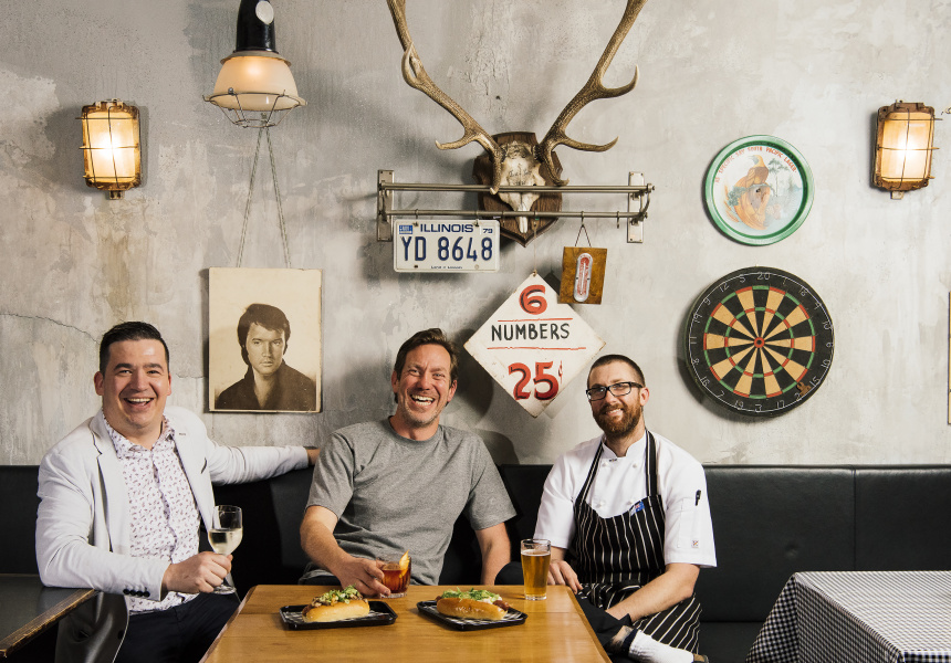 Matt and Andy Mullins with chef Stuart Munroe