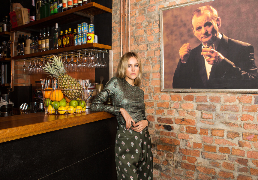 Isabel Lucas shot at Union Electric bar in Melbourne's Chinatown. Lucas wears Zimmerman.