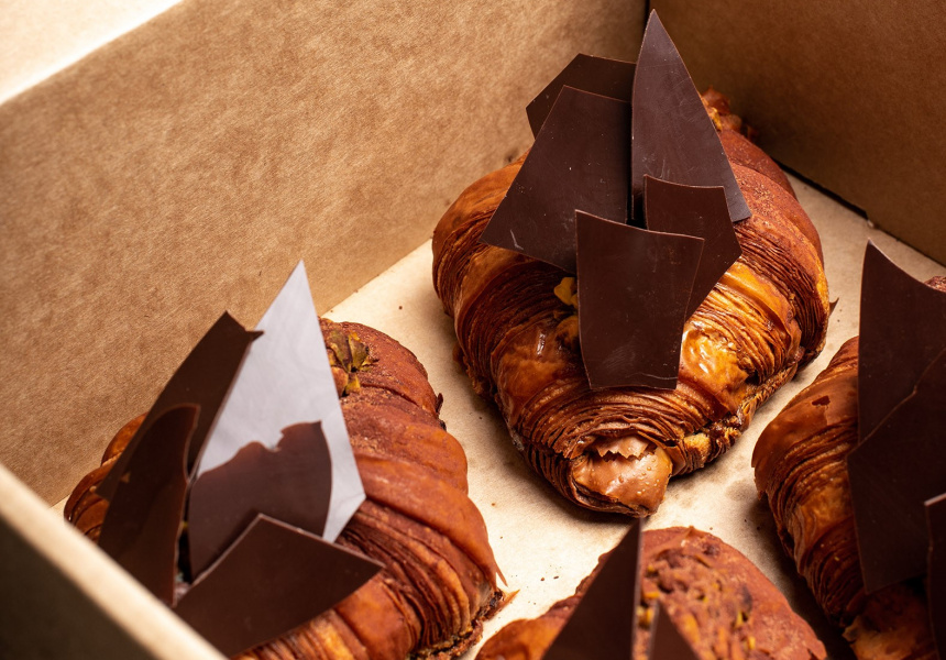 The exclusive Pistachio and Dark Chocolate Twice-baked Croissant