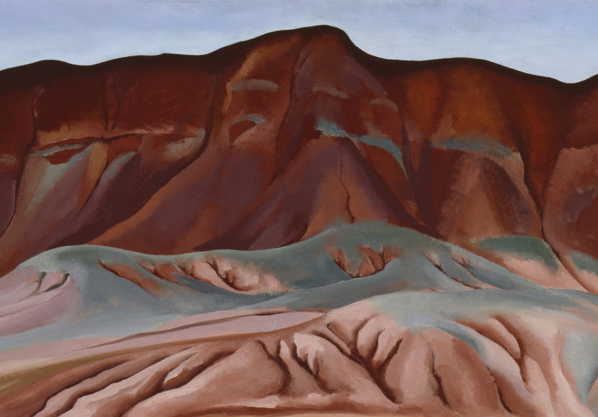 Georgia O'Keeffe  Purple Hills Ghost Ranch - 2 / Purple Hills No II, 1934  Oil on canvas affixed to masonite  41.3 x 76.8 cm  Georgia O'Keeffe Museum  Gift of The Burnett Foundation  © Georgia O'Keeffe Museum