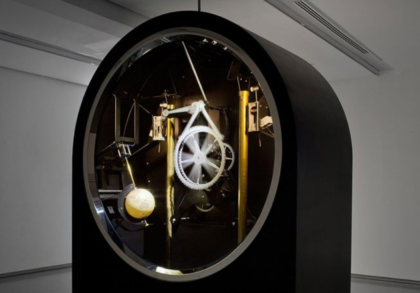 Untitled 2014, clockwork, tubular bells, world globe, steel, glass, electronics