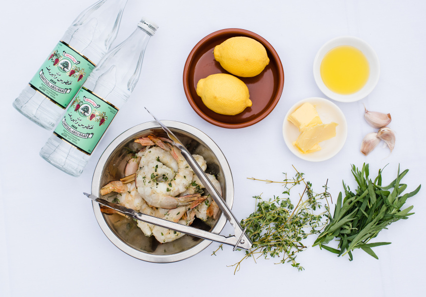 Ingredients for Mediterranean King Prawns with Arak and Thyme.