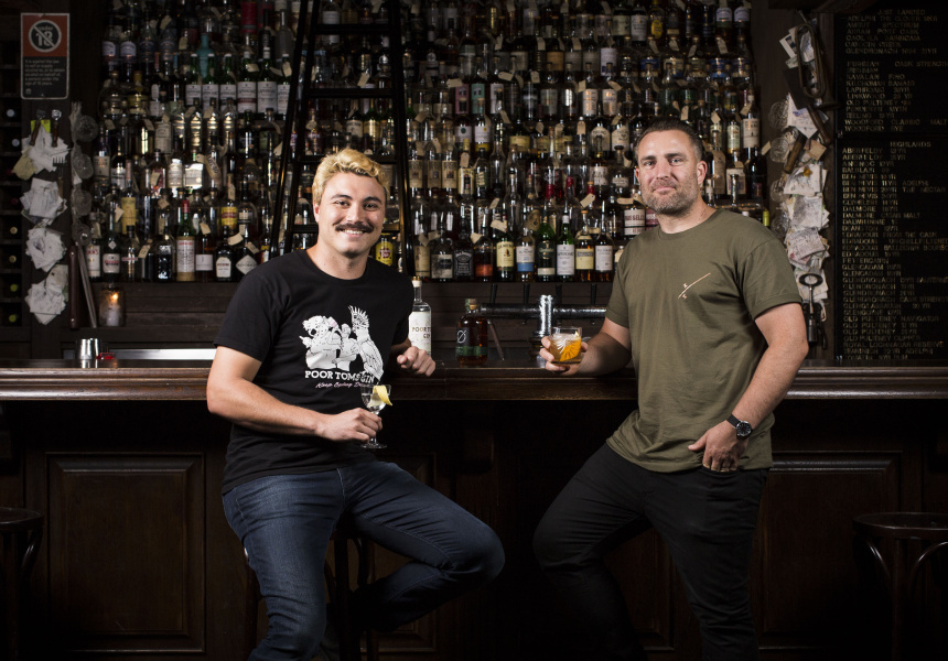 Andrew Fitzgerald of Melbourne Moonshine and Griffin Blumer of Poor Tom's Gin are brining Dead Rabbit bar tenders to Australia