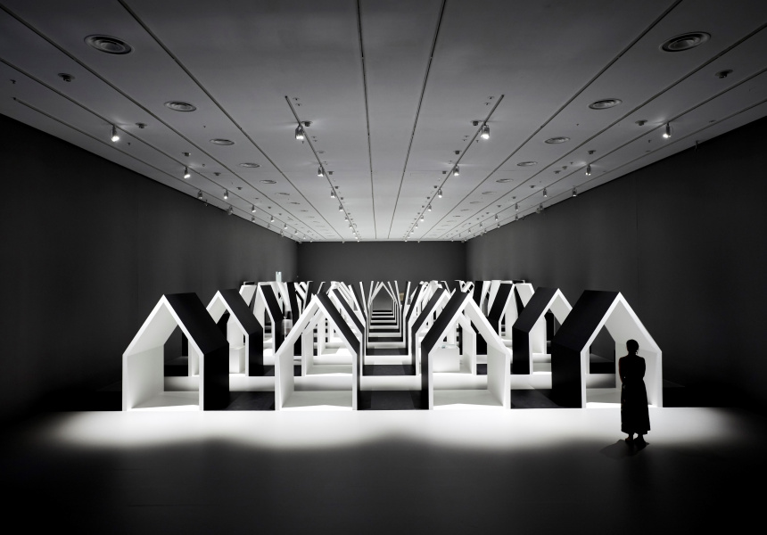 Installation view of Escher x nendo | Between Two Worlds exhibition space at NGV International running from 2 December 2018 – 7 April 2019