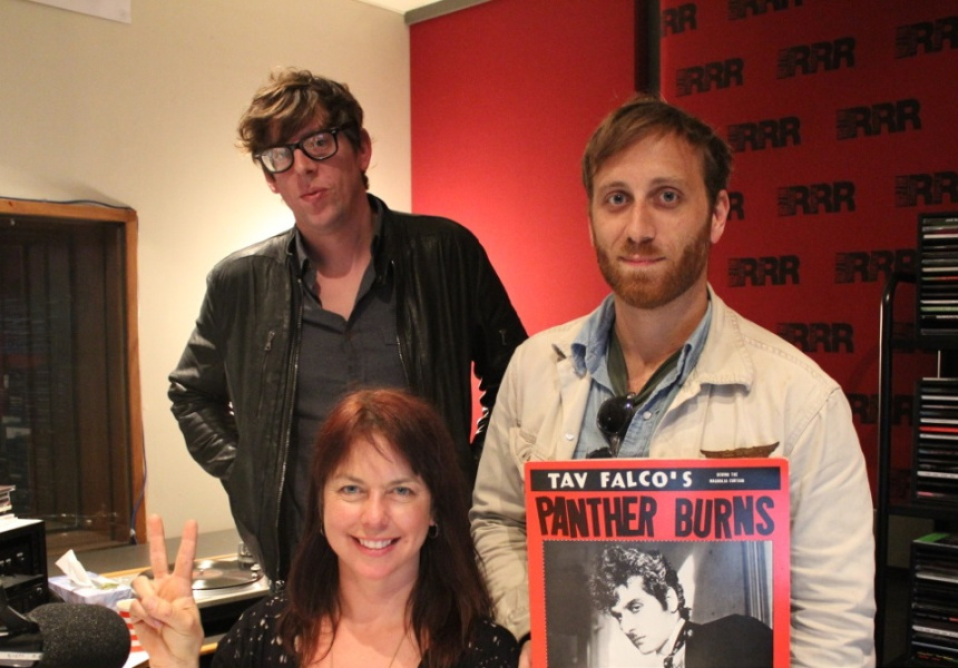 Karen Leng with The Black Keys in the 3RRR studio.