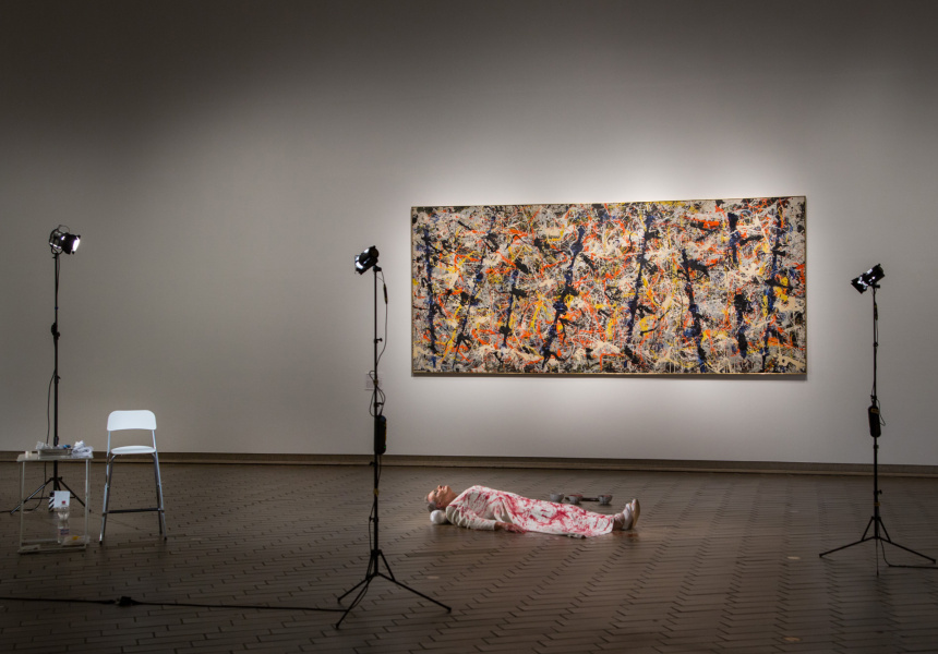 Mike Parr Jackson Pollock the Female, 11 August 2016 National Gallery of Australia, Canberra