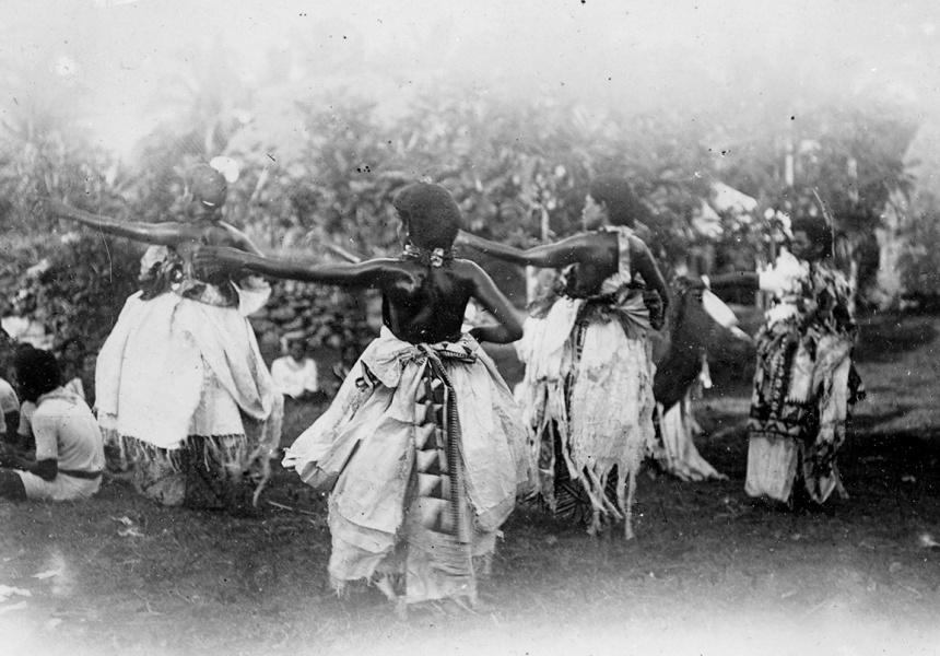 Seasea, a meke (type of dance), being performed in Fiji. Ref_ PAColl-1914-209. Alexander Turnbull