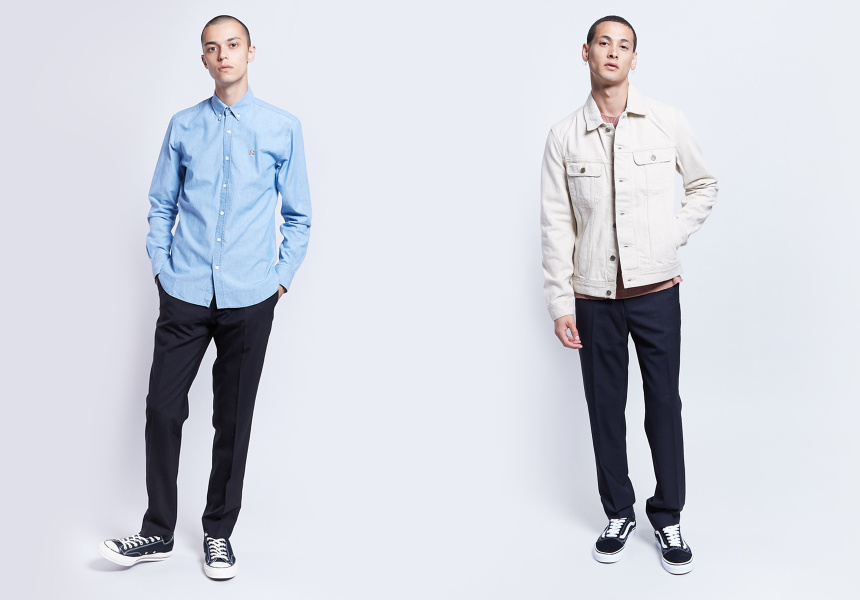 Left: Maison Kitsune Shirt, Filippa K Pants, Convserse Sneakers  Right: APC Denim Jacket, Our Legacy Knit, Filippa K Pants, Vans Sneakers
