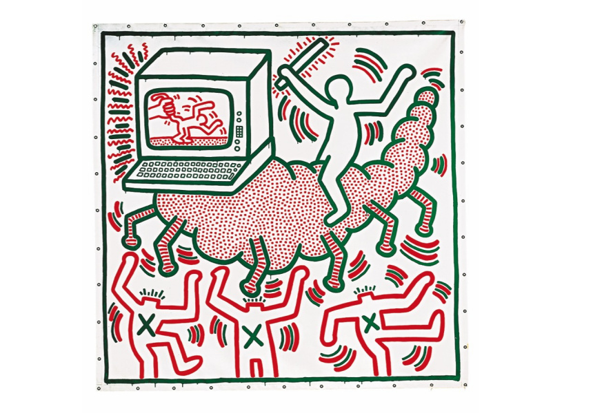 Keith Haring Untitled 1983 vinyl paint on vinyl tarpaulin 307.0 x 302.0 cm Private collection © Keith Haring Foundation