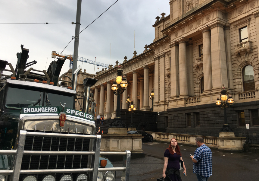 Semi-trucks on Victoria's State Parliament steps.