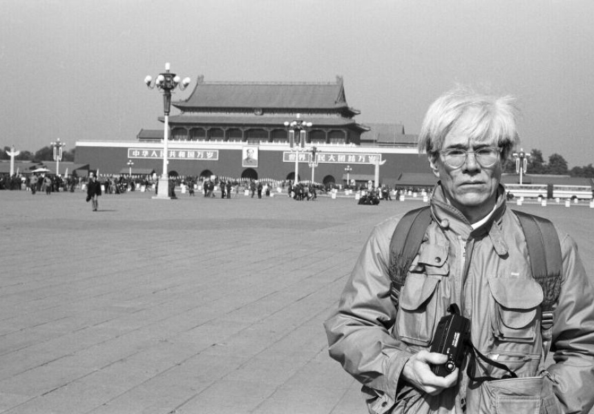 Christopher Makos  Andy Warhol in Tiananmen Square 1982 © Christopher Makos 1982, makostudio.com