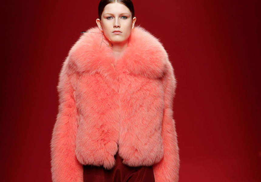 Ellery, Empire Slim Crop Jacket in candy pink fox fur