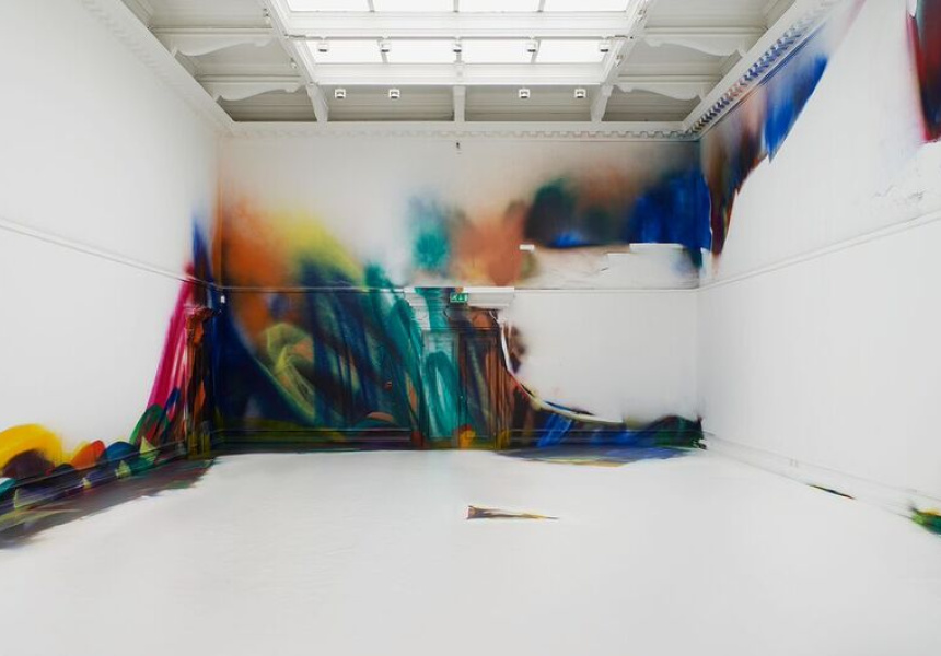 Katharina Grosse, This Drove my Mother up the Wall, South London Gallery