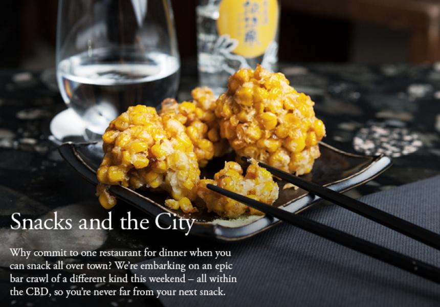 Sweet corn kaki-age at Izakaya Den