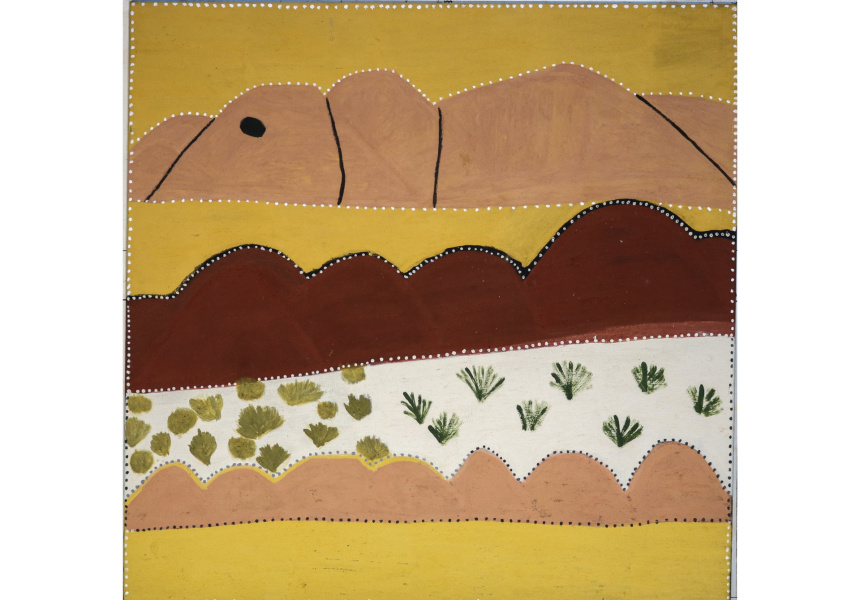 Evelyn Malgil, Untitled, 2021 acrylic and ochre on canvas, 90 x 120 cm Courtesy of the artist and Galerie Pompom, Sydney