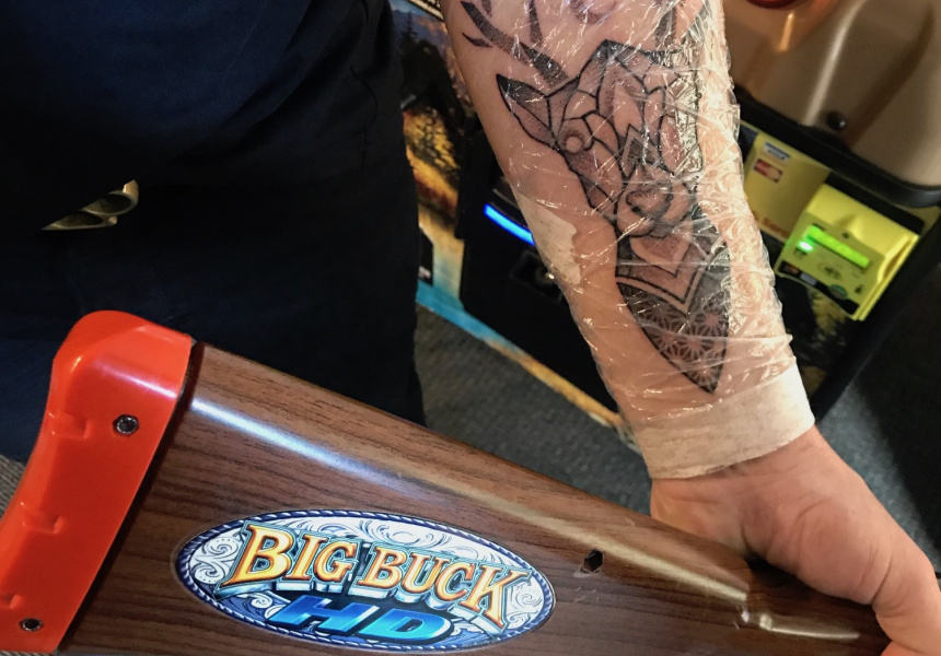 Will Bromley, with a buck tattoo he acquired in the weeks leading up to the tournament.