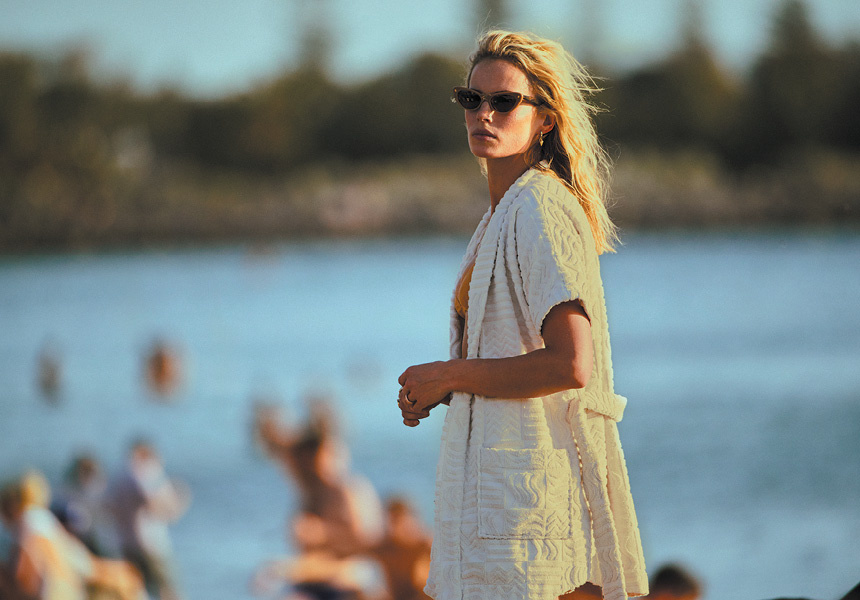 Horizon robe, Slice of Heaven sunglasses and Tetouan stud earrings – Lucy Folk.