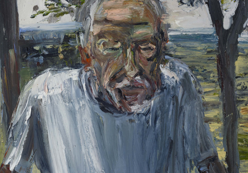 Archibald Prize 2018 finalist Euan MacLeod 'Guy at Jamberoo' oil on polyester 56 x 69 cm © the artist