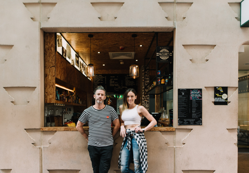 Tom Sanceau and Bonnie Shearston outside Red Hook in Brisbane's CBD.
