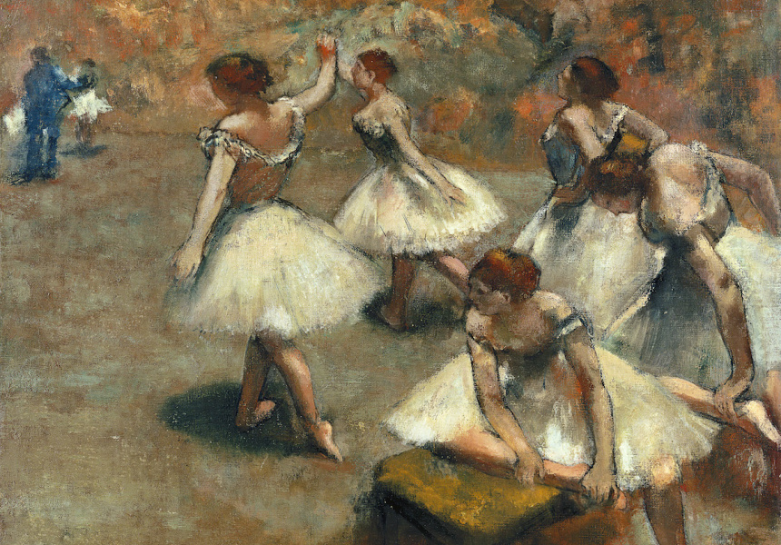 Edgar Degas  Dancers on the stage c. 1899 oil on canvas 76.0 x 82.0 cm Musee des Beaux-Arts de Lyon Legs Jacqueline Delubac, 1997 (B1997-29) Image © Lyon MBA – Photo RMN / Ojeda, Le Mage