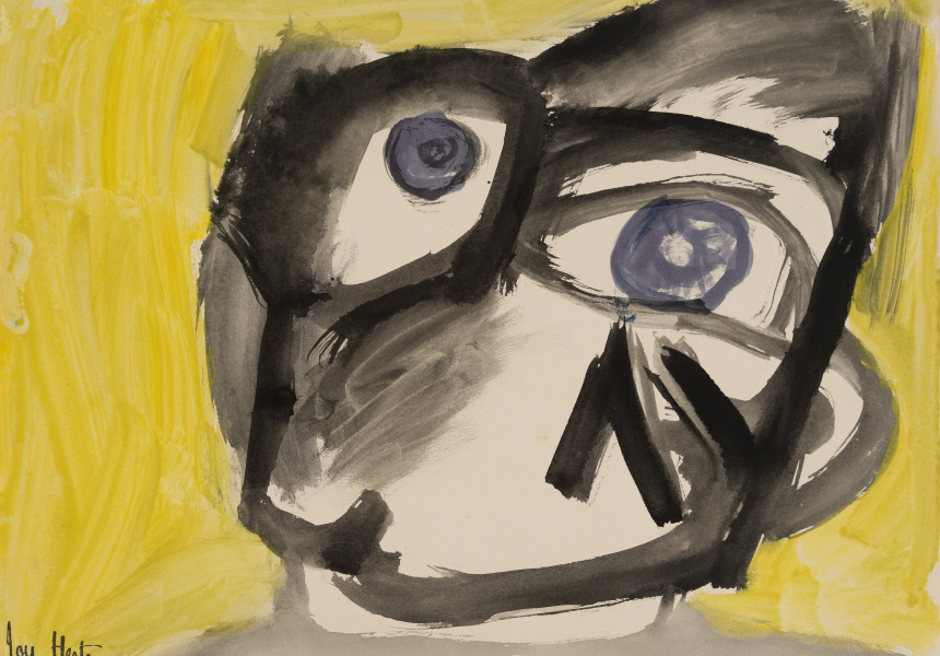 Joy Hester, Face (with Yellow Background) c.1947, brush and ink and gouache on paper, 27.6 x 37.6 cm, Heide Museum of Modern Art, Melbourne Gift of Barrett Reid 1990 ©Joy Hester/Copyright Agency 2019