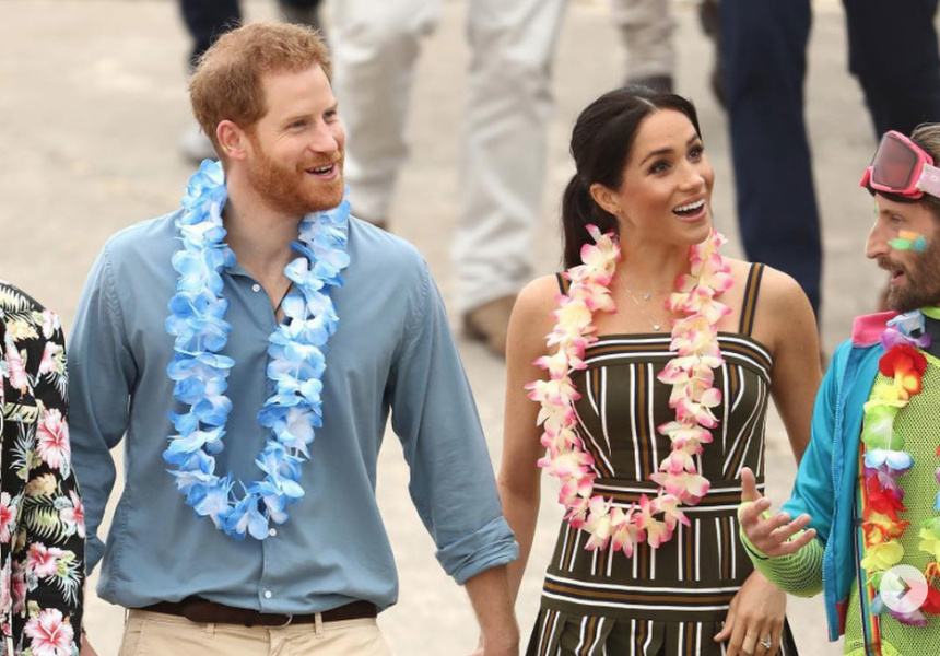 Prince Harry in Jac + Jack, Meghan Markle in Martin Grant