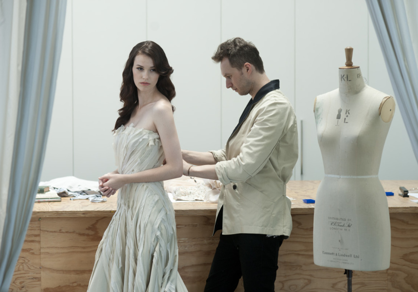Toni Maticevski in his studio with model Lulu Wagstaffe.