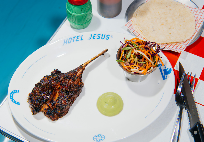 Mole-Rubbed Lamb Rack With Salsa and Cabbage Salad
